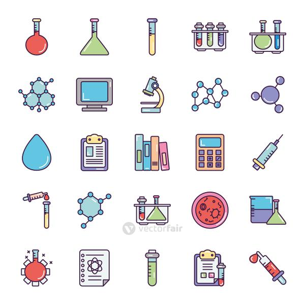 water drop and Chemical icon set, line color style