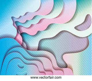 blue and pink waves background vector design