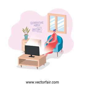 Woman drinking coffee and watching tv vector design