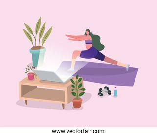 Woman doing yoga on mat in front of laptop at home vector design