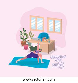 Woman doing yoga on mat in front of laptop on desk vector design