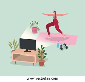 Woman doing yoga on mat in front of tv at home vector design