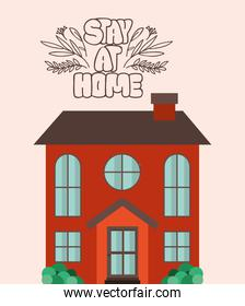 Stay at home and orange house building vector design