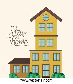 Stay at home and yellow house building vector design