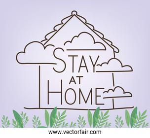 Stay at home and house building with clouds vector design