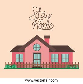 Stay at home and pink house building vector design