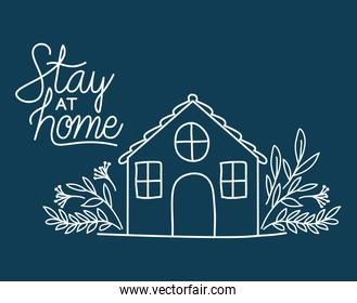 Stay at home and house building with leaves vector design