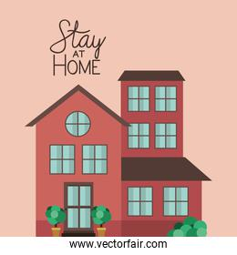 Stay at home and brown house building vector design