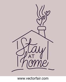 Stay at home and house building vector design