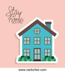 Stay at home and blue house building vector design