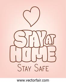 Stay at home safe and heart vector design