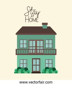 Stay at home and green house building vector design