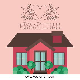 Stay at home and red house building vector design