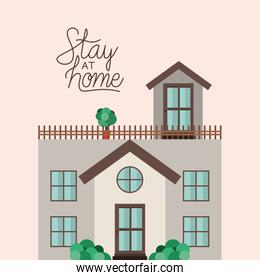 Stay at home and white house building vector design