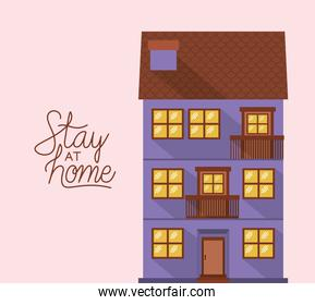 Stay at home and purple house building vector design