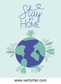 Stay at home and world with leaves vector design