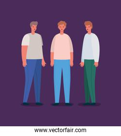 Men avatars persons vector design
