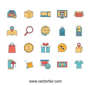 Shopping online line and fill style icon set vector design