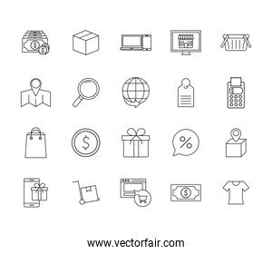 Shopping online line style icon set vector design