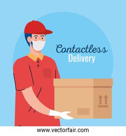 contactless delivery, courier worker using face mask