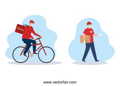 contactless delivery, courier workers using face mask in bike