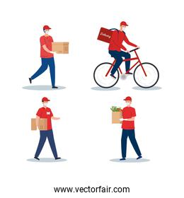 contactless delivery, courier workers using safety mask in bike