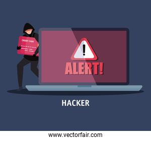 hacker with laptop computer icon