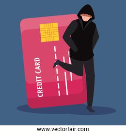 hacker with credit card icon