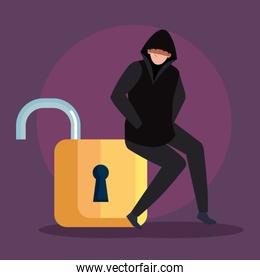 hacker person sitting in padlock icon