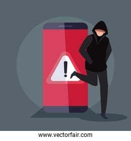 hacker with smartphone device icon