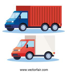 trucks delivery service vehicles icons