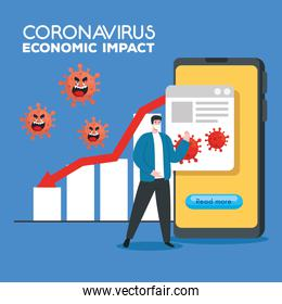 coronavirus 2019 ncov impact global economy, covid 19 virus make down economy, world economic impact covid 19, man with business statistic down