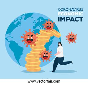 coronavirus 2019 ncov impact global economy, covid 19 virus make down economy, world economic impact covid 19, woman with stack coins falling