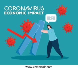 coronavirus 2019 ncov impact global economy, covid 19 virus make down economy, world economic impact covid 19, woman with infographic down