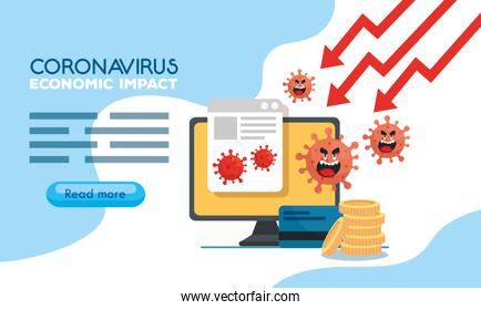 coronavirus 2019 ncov impact global economy, covid 19 virus make down economy, world economic impact covid 19, computer with icons