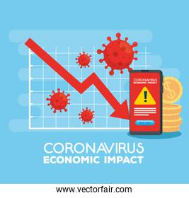 coronavirus 2019 ncov impact global economy, covid 19 virus make down economy, world economic impact covid 19, statistic business and icons down