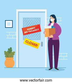 no vacancy, sorry, unemployment coronavirus covid 19, global crisis, woman and box with objects office
