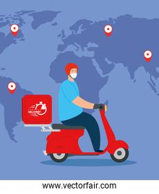 delivery of goods during the prevention of coronavirus, courier worker using face mask in motorcycle with world map