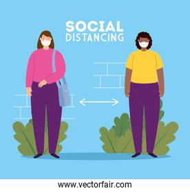 social distancing, keep distance in public society to people protect from covid 19, women using face mask