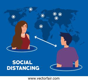 social distancing, keep distance in public society to people protect from covid 19, young couple with world map