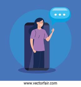 woman in smartphone with speech bubble