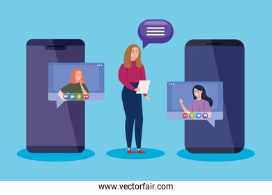 women in video conference by smartphone