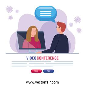 couple in video conference during covid 19