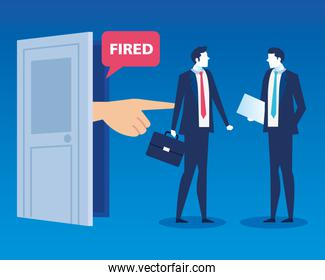 businessmen sad fired, dismissal, unemployment, jobless and employee job reduction concept