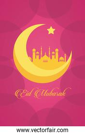 eid mubarak celebration card with mosque and moon