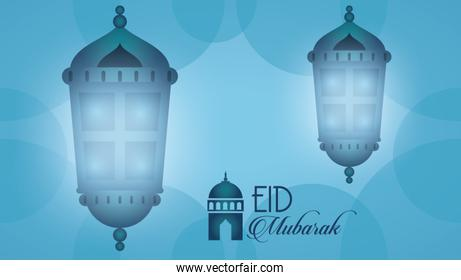 eid mubarak celebration card with lanterns hanging