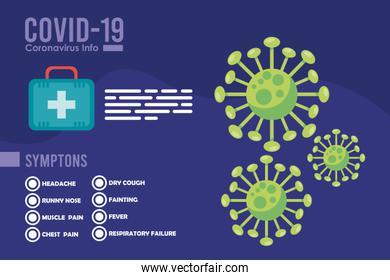 corona virus infographic with particles icons