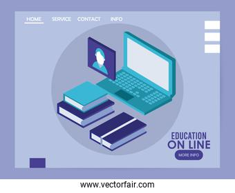 laptop and books education online tech