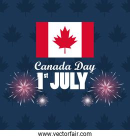 first july canada day celebration poster with flag and fireworks