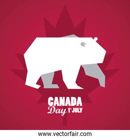 first july canada day celebration poster with bear